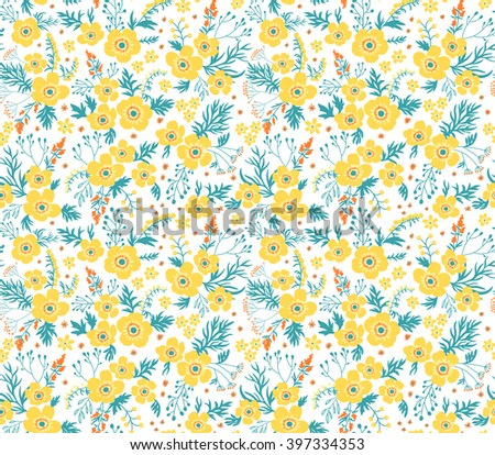Cute yellow flower pattern on white background download free beautiful pattern in small flower small yellow flowers white background seamless floral pattern mightylinksfo