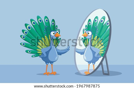 Beautiful Peacock Admiring Itself in the Mirror. Vain self-obsessed peafowl bird being proud and bragging about looks  Stock photo ©