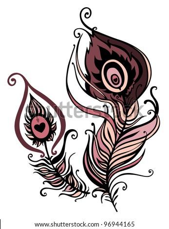 Beautiful peacock feather. vector illustration - stock vector