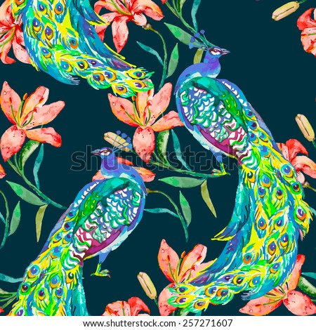 Beautiful peacock pattern. Tropical seamless pattern. Vector. Peacocks and lily.