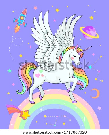 Beautiful pegasus on rainbow with stars, saturn, rocket, constellations and crescent. Vector fantasy illustration in pastel colors