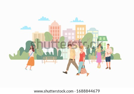Beautiful people walk along the street in the background with buildings and trees. Vector urban style of a busy street. The architecture of the building.