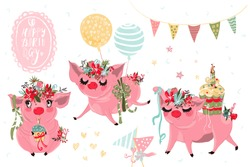 Beautiful piggy birthday vintage vector watercolor collection, set of design elements. Cute pigs with flowers wreath and balloons, cakes. Kids birthday party, invitation, print