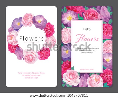 Beautiful pink and purple roses flower background template. Vector set of blooming floral for wedding invitations and greeting card design. #1045707811