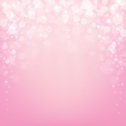 Beautiful pink background with bokeh lights, stars and sparkles. Vector illustration.