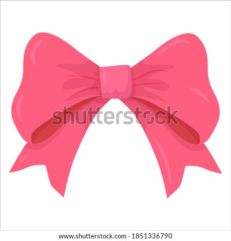 beautiful pink bow drawn in cartoon style. fashion elements and Holiday dressing items, beauty, gift and birthday decorative ribbons. Vector illustration isolated on white background.