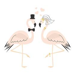 Beautiful pink flamingo couple wedding card on white background