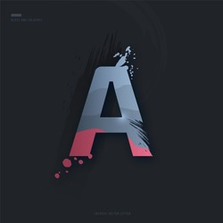 Beautiful pink grey Letter of font. Creative Letter A with brush strokes, drops, splashes and spray. Liquid character of English alphabet on dark background. Vector modern design element for your art