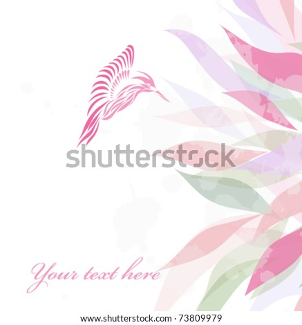 Beautiful pink hummingbird isolated on white background with your text (vector version eps 10). Great for signs, logos, web, logotype.