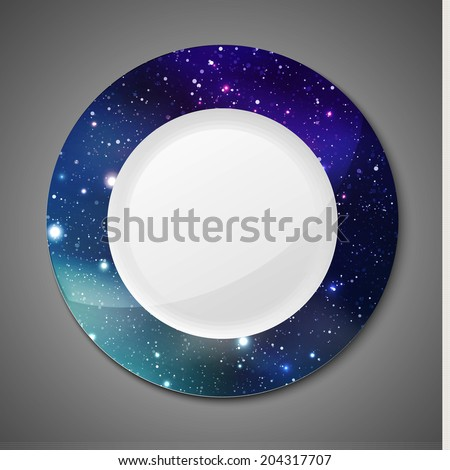 Beautiful plate design with universe background. Vector illustration