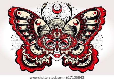 Beautiful portrait of the girl with butterfly wings in new old school style. Boho, tattoo, spirituality, poster, T-shirt print, character design. Vector illustration for commercial and personal use.