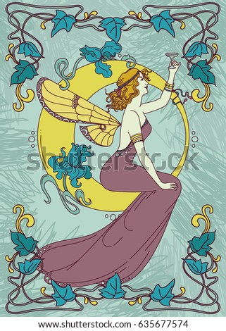 beautiful poster in art nouveau