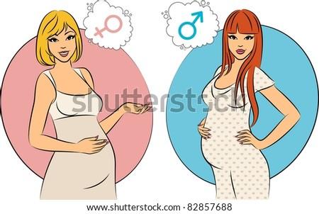Beautiful pregnant girls. Vector