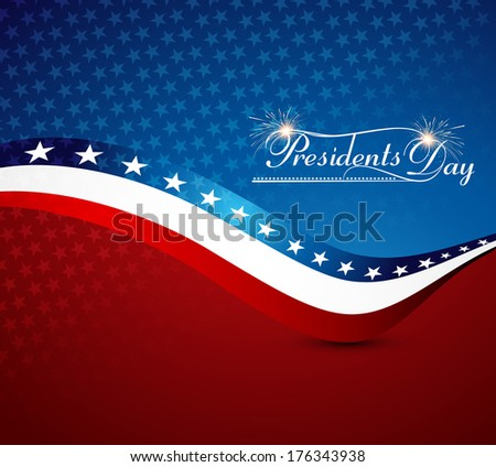 Beautiful President Day in United States of America with stylish wave bright colorful background holiday vector