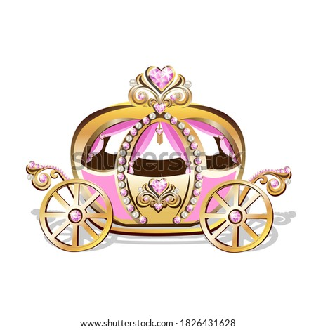 Beautiful princess carriage decorated with pink jewels Fabulous carriage vector illustration isolated on white background. Stock photo ©