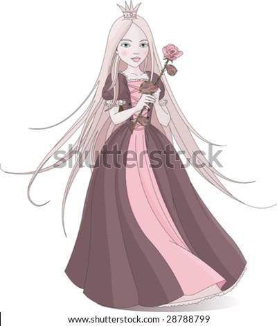 beautiful princess holding pink