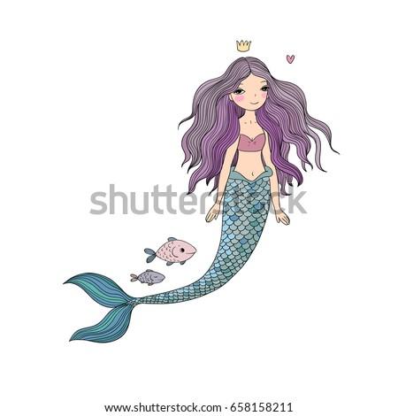 Beautiful Princess Mermaid. Siren. Sea theme. vector illustration on a white background.