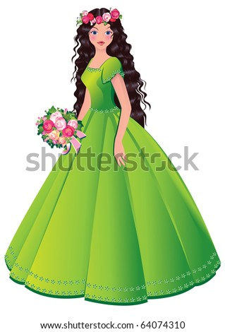 Beautiful princess. Vector art-illustration on a white background.