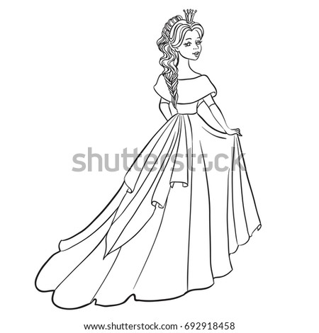 Beautiful princess. Vector Illustration. Outlined for coloring book.