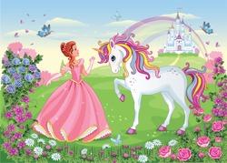 Beautiful Princess with white unicorn. Cute fairy. Fairytale background with flower meadow, castle, rainbow. Wonderland. Magical landscape. Children's cartoon illustration. Romantic story. Vector.