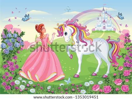 Beautiful Princess with white unicorn. Cute fairy. Fairytale background with flower meadow, castle, rainbow. Wonderland. Magical landscape. Children's cartoon illustration. Romantic story. Vector.  Сток-фото ©