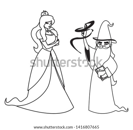 beautiful princess with wizard