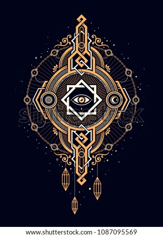 Beautiful print in esoteric style. Round golden artifact with one big eye. Alchemy, space, spirituality, mysticism, freemasonry, astrology.