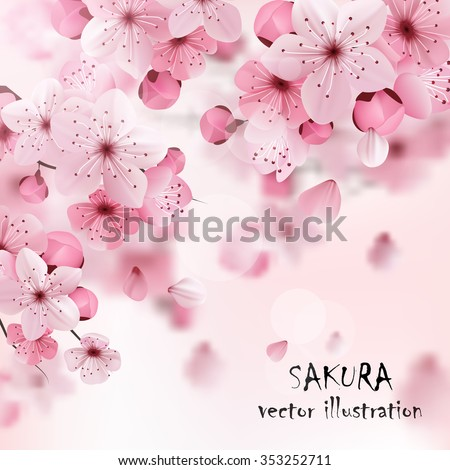 Beautiful print with blossoming dark and light pink sakura flowers and title vector illustration