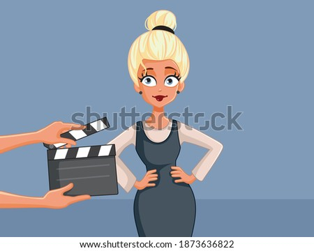 Beautiful Professional Actress Acting on Set Vector Cartoon. Young model ready to film a new commercial   Stock fotó ©