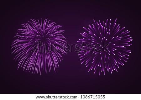 beautiful purple fireworks set