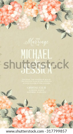 Beautiful purple flower of hydrangea. Wedding Card and engagement announcement.  Invitation card template with orange blooming hydrangea over gray background. Vector illustration.