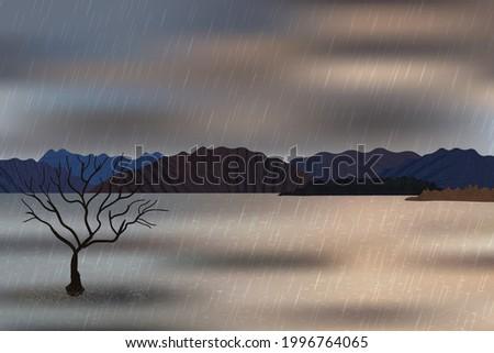 beautiful rainy day mountains