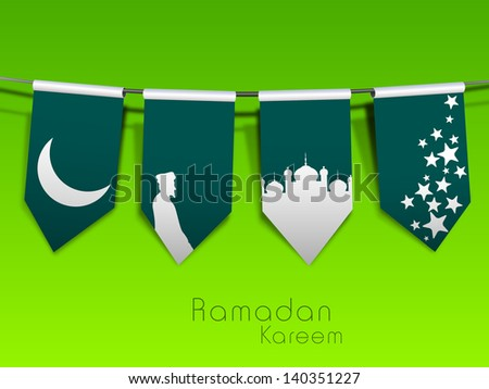 Beautiful Ramadan Kareem concept with shiny moon, mosque and stars on green background.