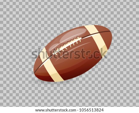 Beautiful realistic classic, rugby ball, playing football. Competitive games, physical education, hobbies, athletics, healthy lifestyle, collective occupation. Illustration on transparent background.