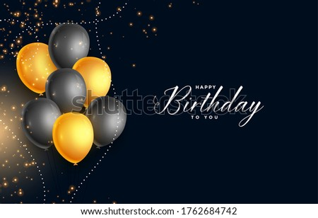 Beautiful realistic happy birthday vector greeting card with golden,  black & gold flying party balloons, confetti and stars on dark grey background. vector illustration. Stock foto ©