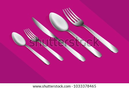 Beautiful realistic set of Cutlery.Fork, spoon and knife. Cutlery set on a pink background.3D Cutlery set.Vector illustration