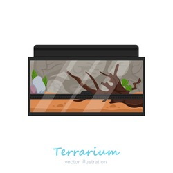Beautiful rectangular terrarium image. Exotic pet in your house. Reptile house. Animal case. Editable vector illustration isolated on a white background. Colorful cartoon flat style. Graphic design