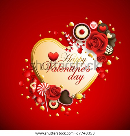 beautiful red and golden valentine`s day background