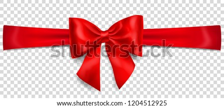 Beautiful red bow with horizontal ribbon with shadow on transparent background