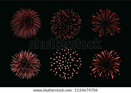 beautiful red fireworks set