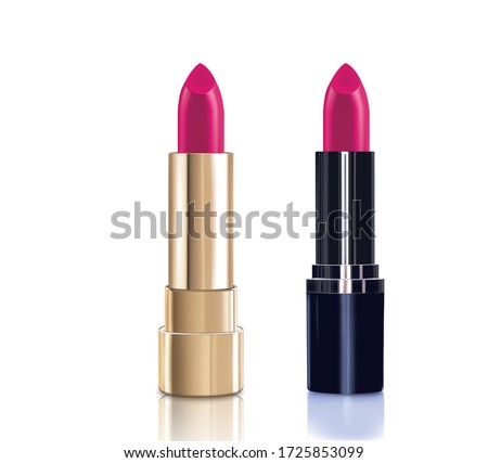 Beautiful red lipstick with lid in gold. Makeup realistic cosmetic vector illustration isolated on white. Photo stock ©