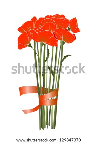 Beautiful Red Poppies with Ribbon. Vector decorative poppies bunch with ribbon illustration. EPS8.