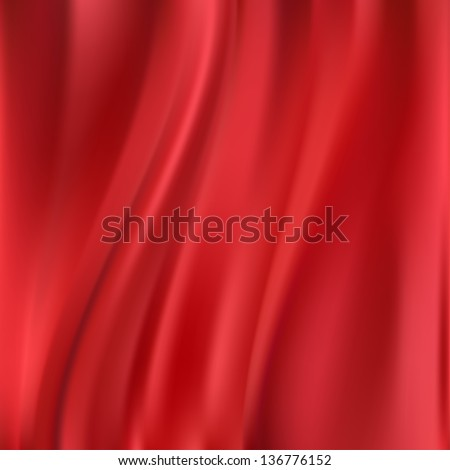 Beautiful Red Silk. Drapery Textile Background, Vector Illustration
