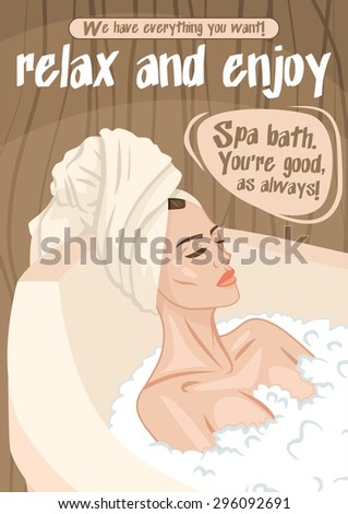 Beautiful relaxed woman lies in the bathtub with her eyes closed with foam poster