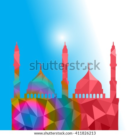 Beautiful religious eid background with mosque. Polygon Vector illustration