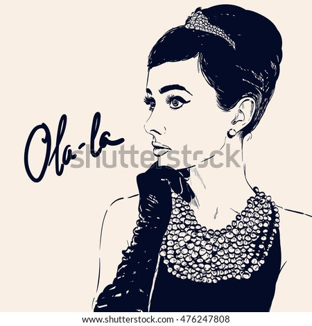beautiful retro woman  vector