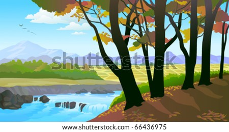 Beautiful riverside  trees and field view