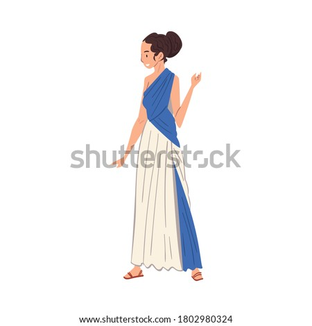 Beautiful Roman Woman in Traditional Clothes, Ancient Rome Citizen Character in Tunic And Sandals Vector Illustration Foto stock ©