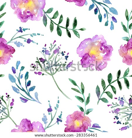 beautiful romantic artistic painting - pink watercolor flowers and green branches - seamless pattern and repeat background with paper texture and brush splash and splatter - hand drawn vector