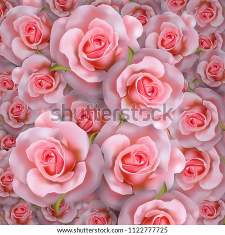 Beautiful romantic background with realistic pink roses. Floral 3d pattern, vector